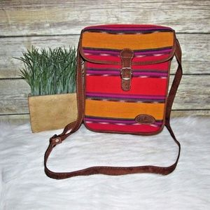 Guatemalan Striped Fabric Leather Trim Crossbody